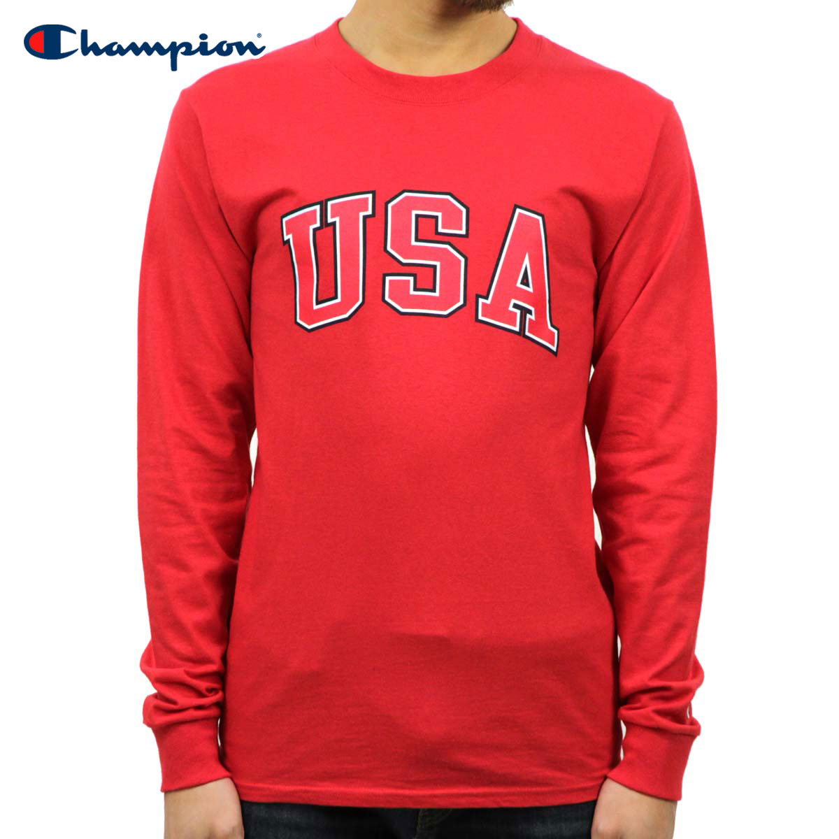 8c1f0e825a Champion CHAMPION regular article men long sleeves T-shirt L/S TEE T2229P  Cotton Long Sleeve Tee W3J-RED #549593 USA Arch LS D00S15