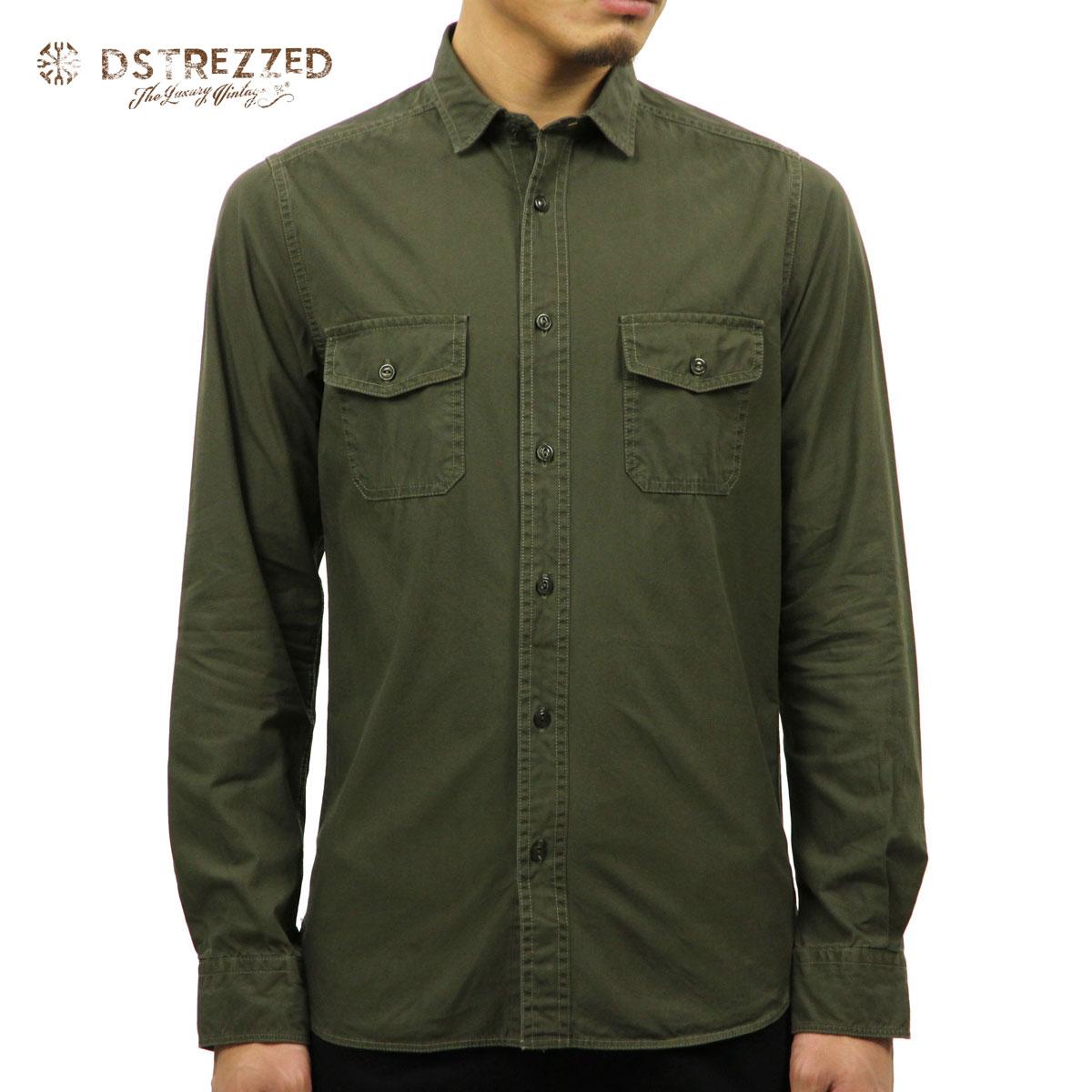 ディストレス DSTREZZED 正規販売店 メンズ 長袖シャツ SHIRT FINE TWILL SHIRT 303115 11 ARMY GREEN