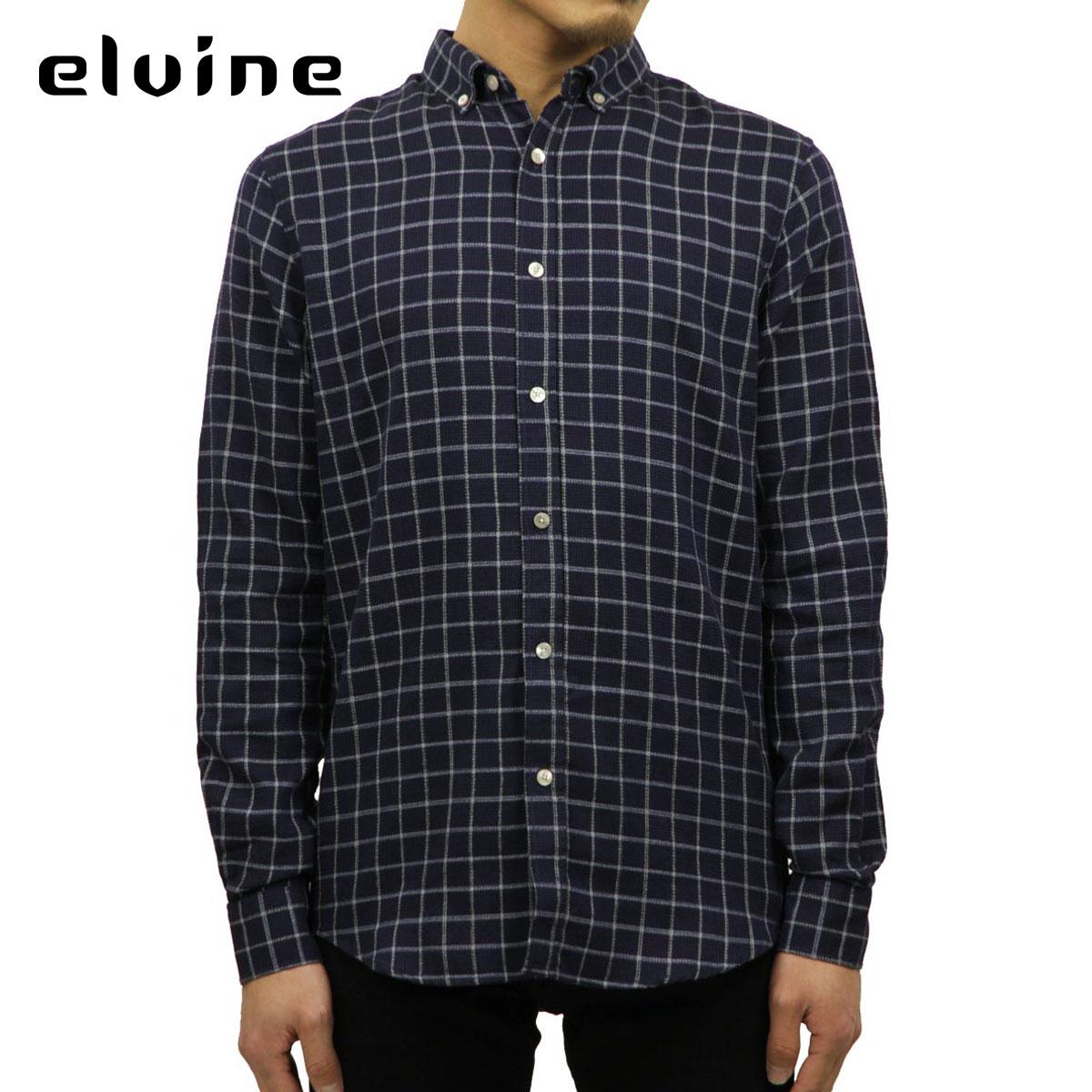 エルバイン elvine 正規販売店 メンズ 長袖シャツ CHECK SHIRT1404717 dk blue check D15S25