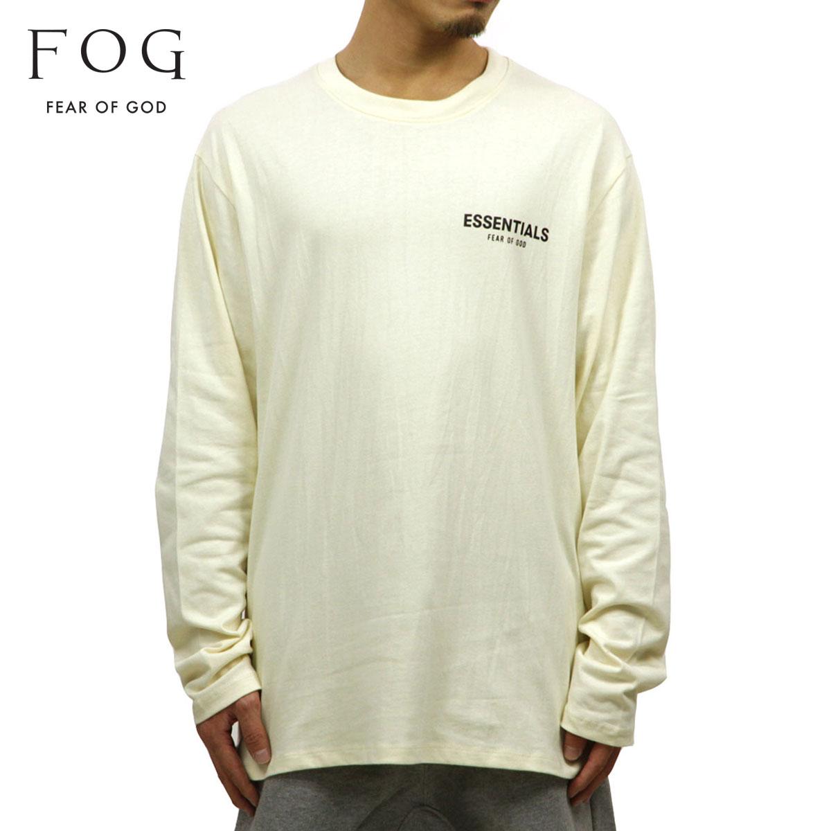 フィアオブゴッド FEAR OF GOD 正規品 メンズ クルーネック ロゴ 長袖Tシャツ FOG - FEAR OF GOD ESSENTIALS BOXY LOGO LONG SLEEVE T-SHIRT CREAM