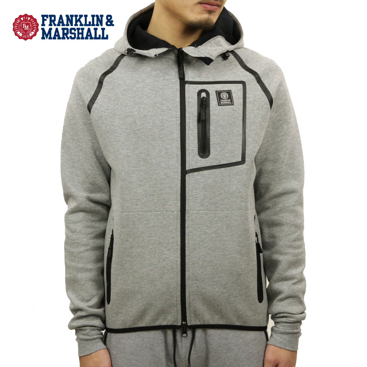 フランクリン マーシャル FRANKLIN&MARSHALL 正規販売店 メンズ パーカー ZIP UP FLEECE PARKA DARK GREY MELANGE FLMLA150AM 4111 D00S20