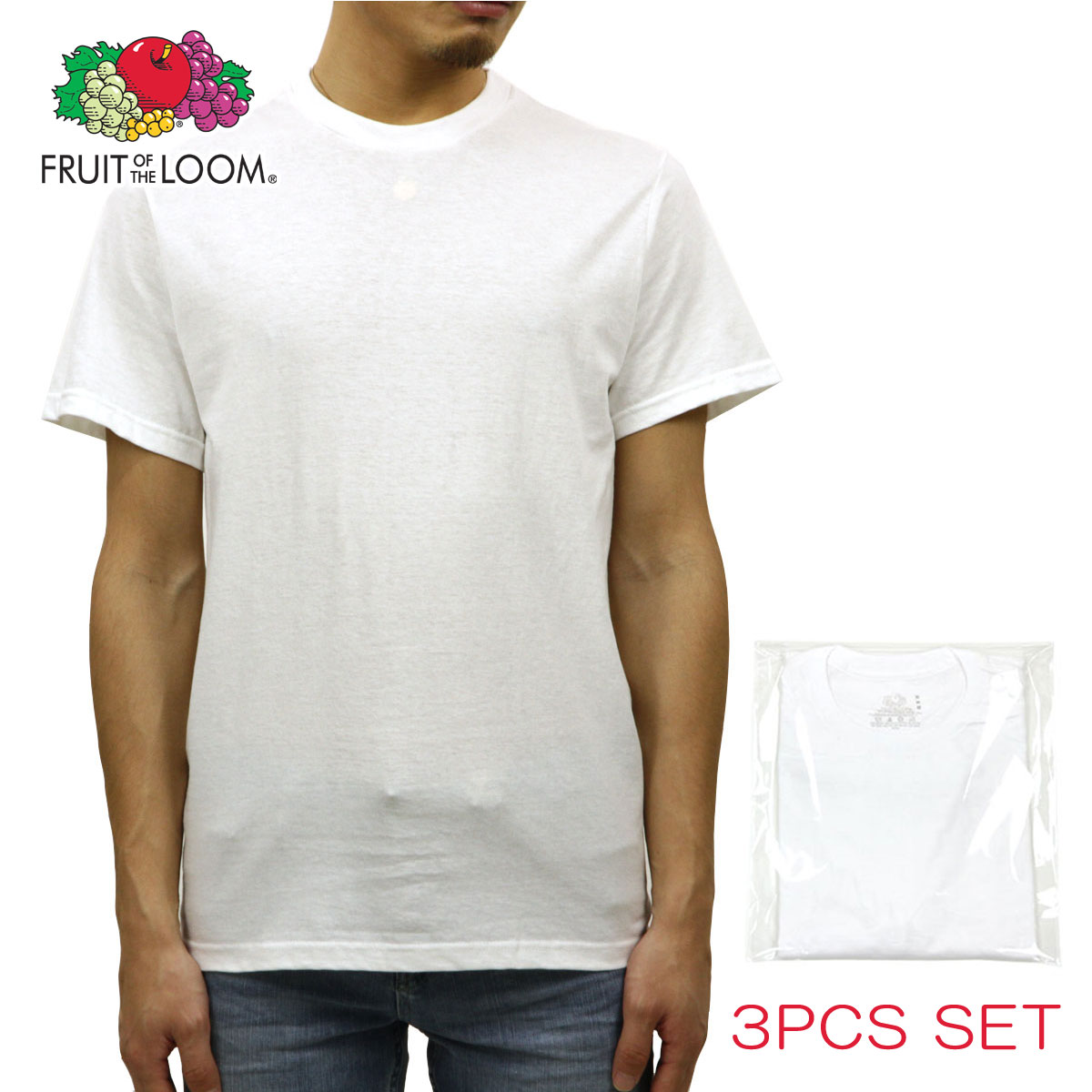 f74cd360e8a63 Fruit ofthe room FRUIT OF THE LOOM crew T shirts Men s Shirts Classic Crew  3Pack white 10P13Dec14