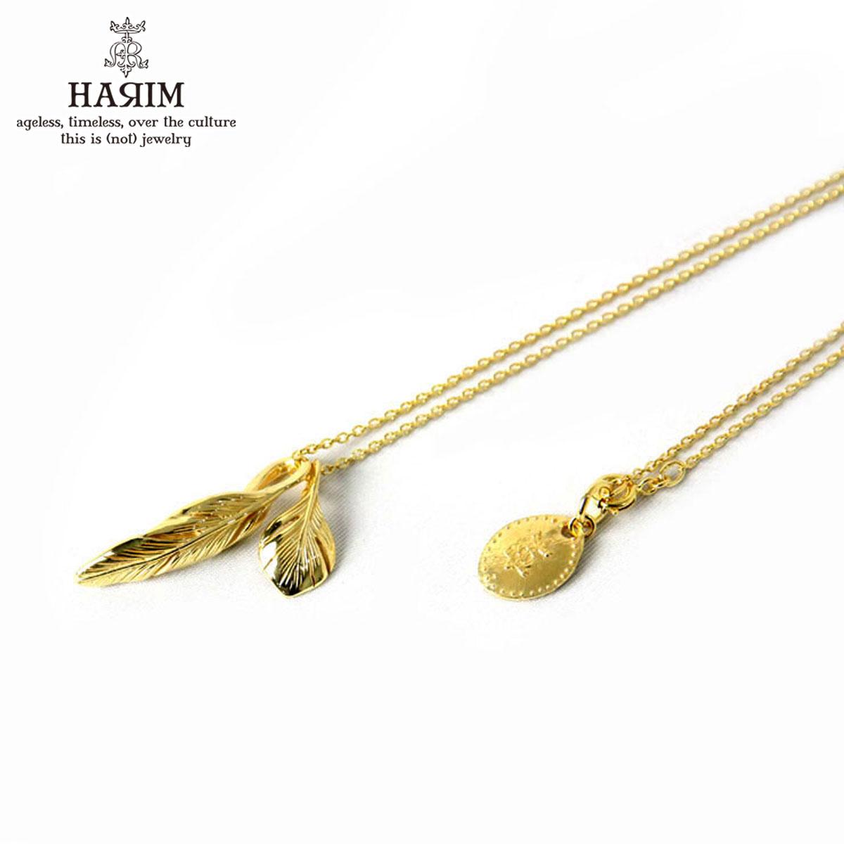 ハリム HARIM 正規販売店 ネックレス Slender feathers Half Very shine GP K18YG GOLD PLATING Necklace HRP105 GP