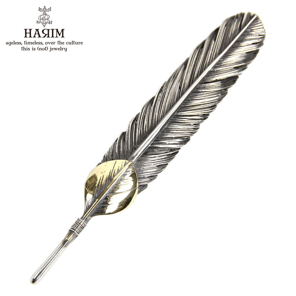 ハリム HARIM ペンダントトップ(チェーン別売り) HARIM FEATHER CENTER L HRT001 WH/OX SILVER 925 OXIDIZED BLACK with 10K GOLD HEART FEATHER