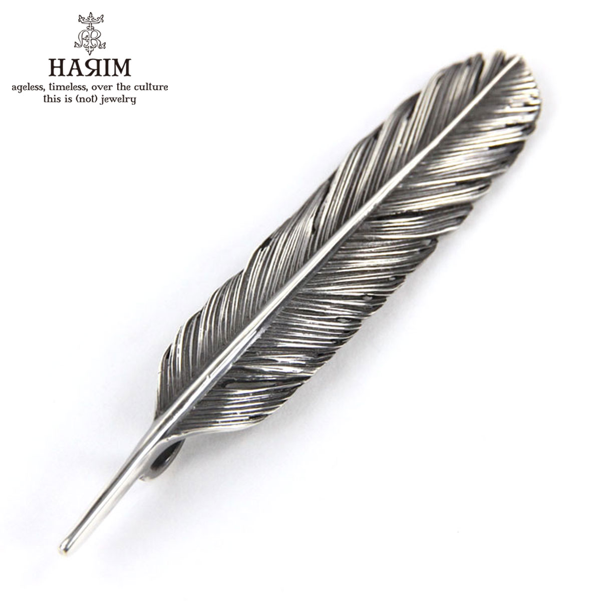 ハリム HARIM ペンダントトップ(チェーン別売り) HARIM FEATHER CENTER M HRT004 WH/OX SILVER 925 OXIDIZED BLACK