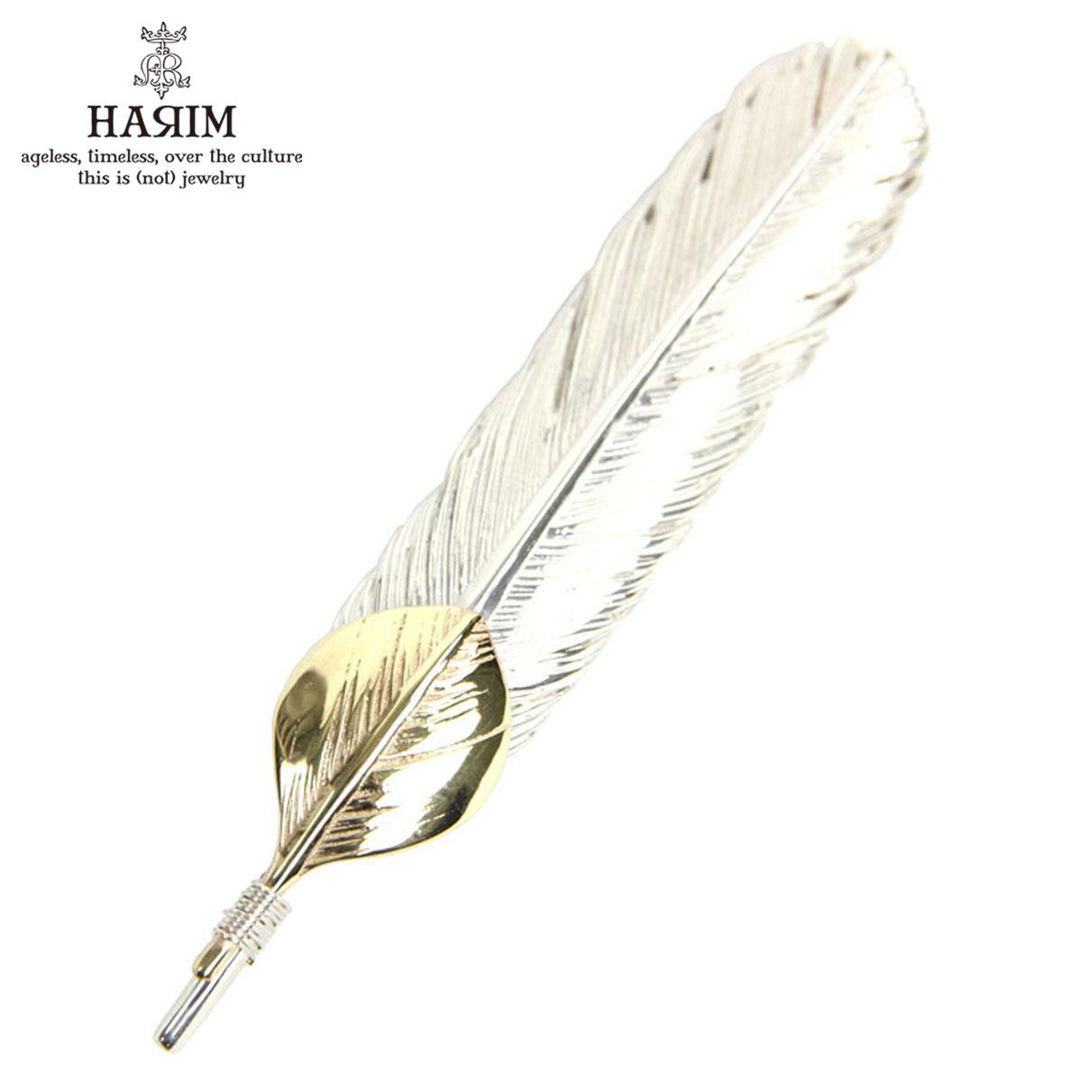 ハリム HARIM ペンダントトップ(チェーン別売り) HARIM FEATHER CENTER M HRT004 WH/OX SILVER 925 with 18K GOLD HEART FEATHER