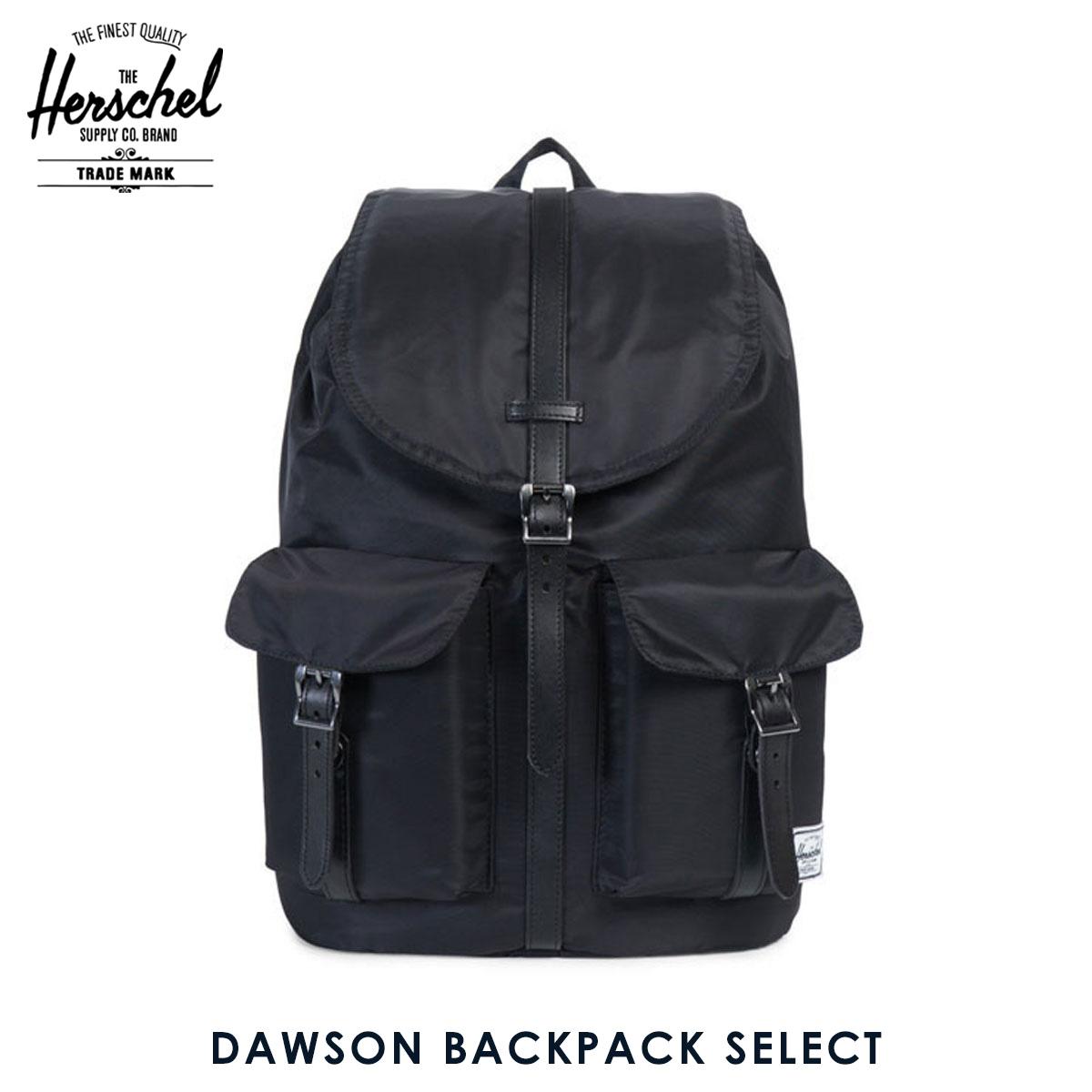 【販売期間 6/4 10:00~6/11 09:59】 ハーシェル バッグ 正規販売店 Herschel Supply ハーシャルサプライ バッグ リュックサック DAWSON BACKPACK SELECT 10233-00949-OS BLACK/BLACK DYED VEGGIE TAN LEATHER D00S20 父の日