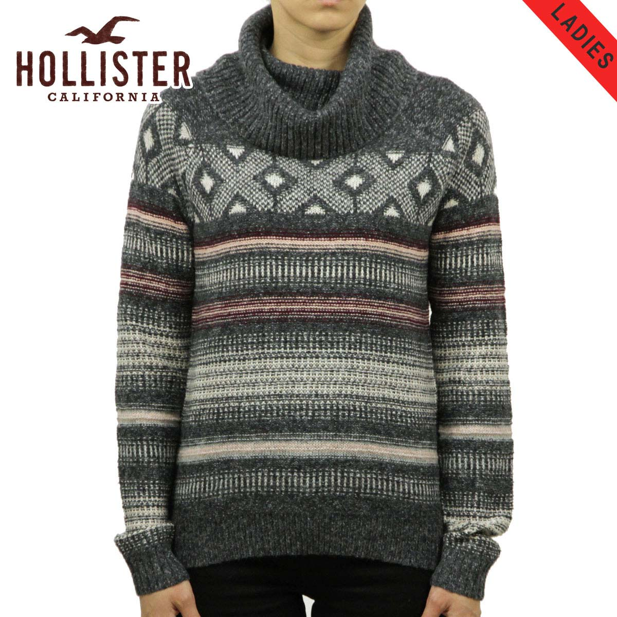 179bb2e45beb Hollister HOLLISTER AE women s sweater Patterned Cowl Neck Sweater  350-507-0558-116