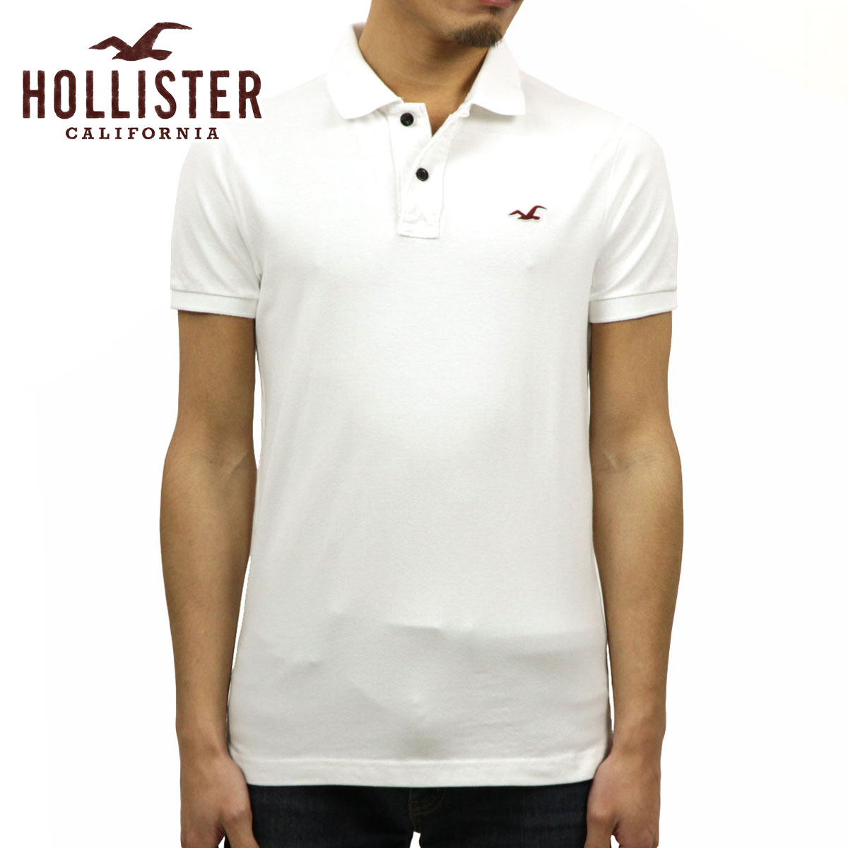 dec0ce83 Hori star HOLLISTER regular article men stretch slim one point logo short  sleeves polo shirt Stretch ...