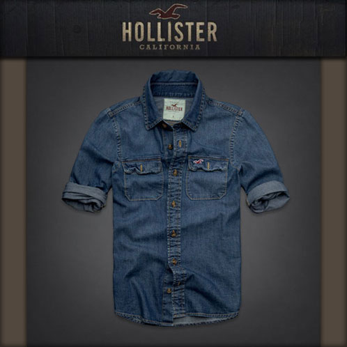 hollister denim shirt mens