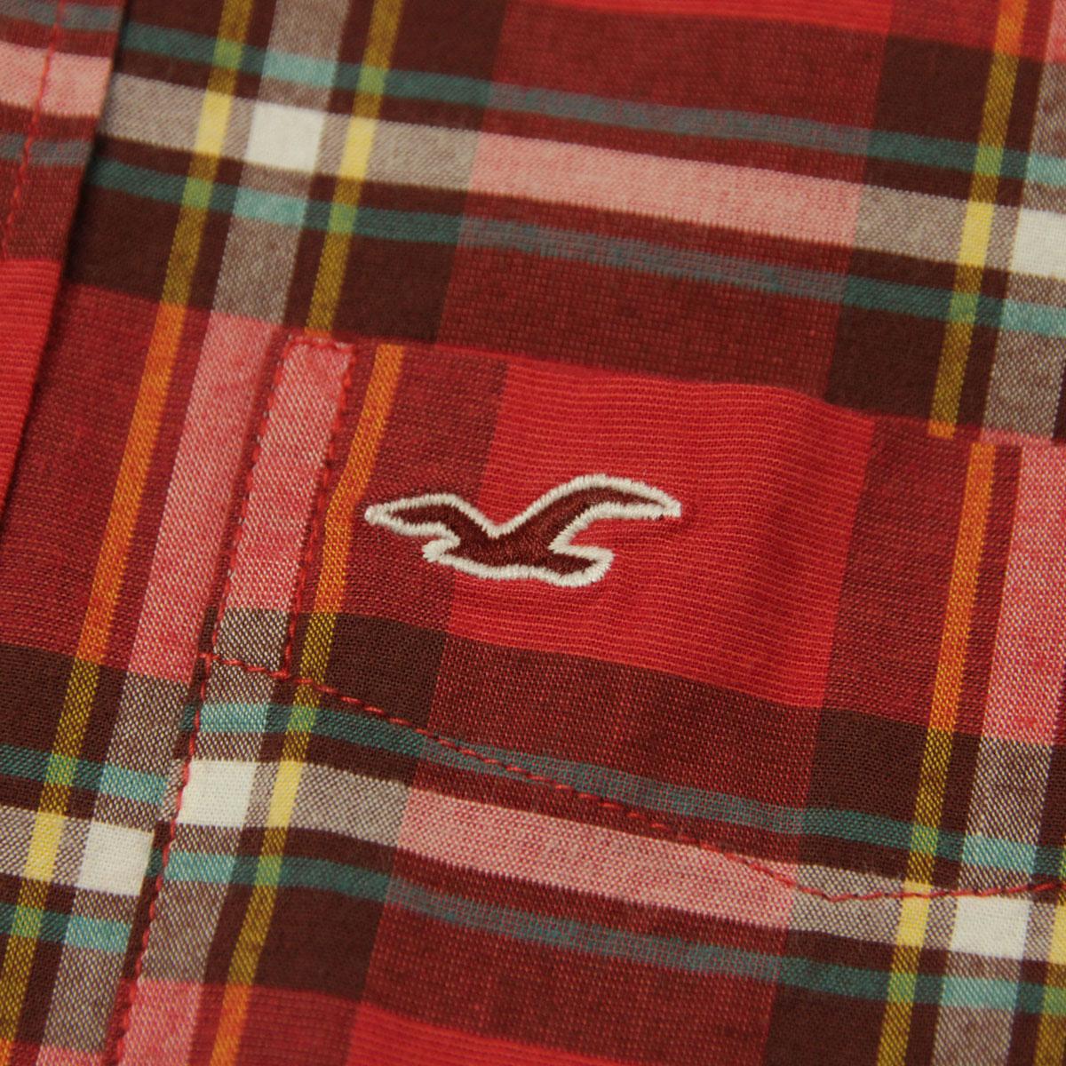 霍利斯特霍利斯特 AE 男式长袖衬衫格子府绸衬衫史诗 Flex 苗条适合 325-259-1584年-508