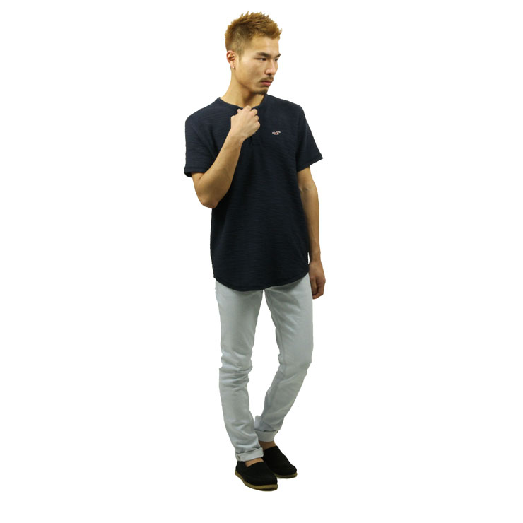 horisuta HOLLISTER正规的物品人短袖T恤Textured Boucle Henley 321-615-0327-200