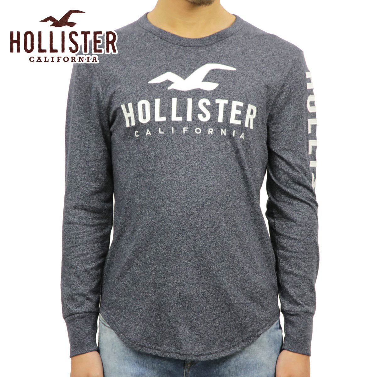 Hori star T shirt men's regular article HOLLISTER long sleeves T shirt Long Sleeve Logo Graphic Tee 323 248 0111 202