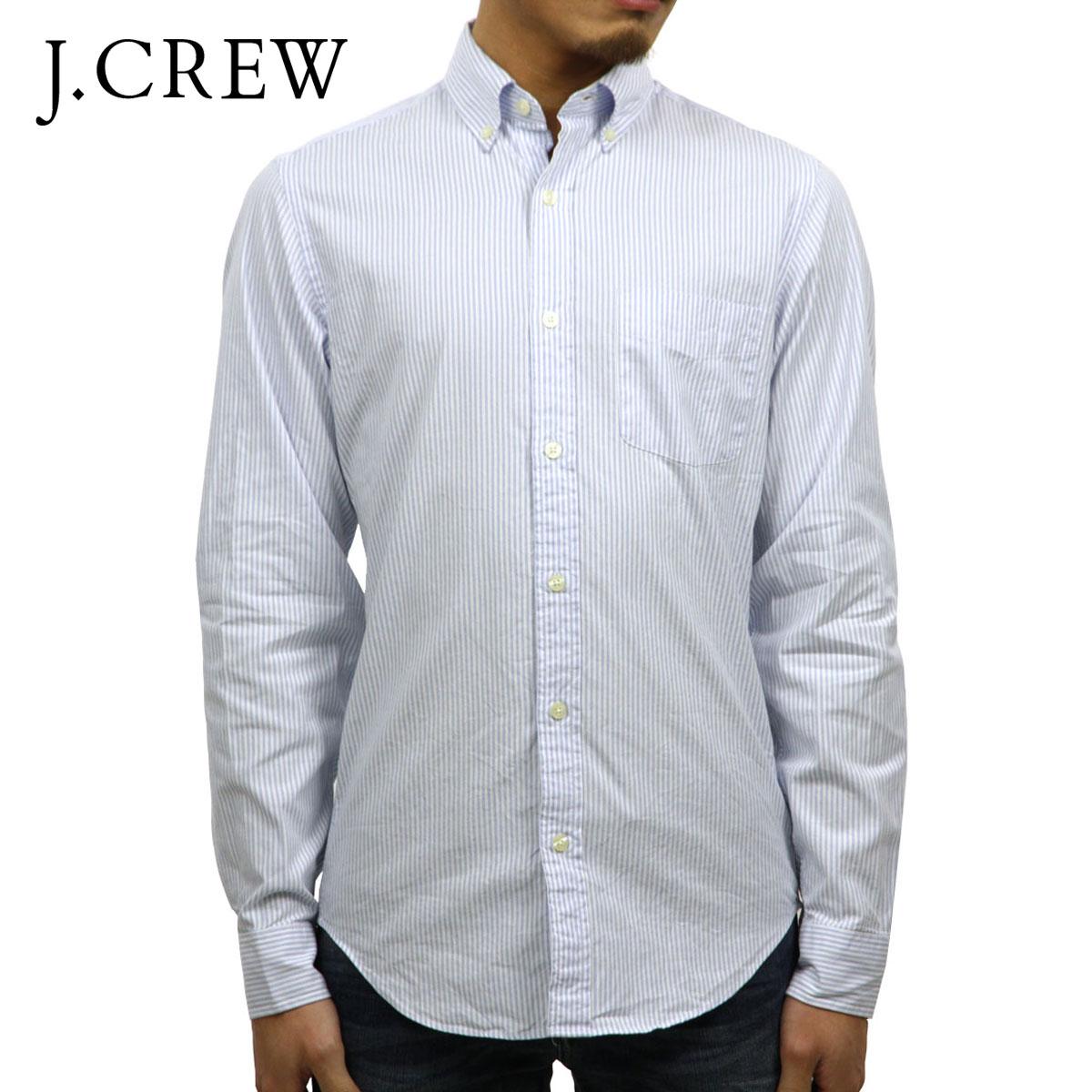 ジェイクルー J.CREW 正規品 メンズ 長袖ボタンダウンシャツ SUNWASHED OXFORD SHIRT IN STRIPE WHITE-BLUE D20S30