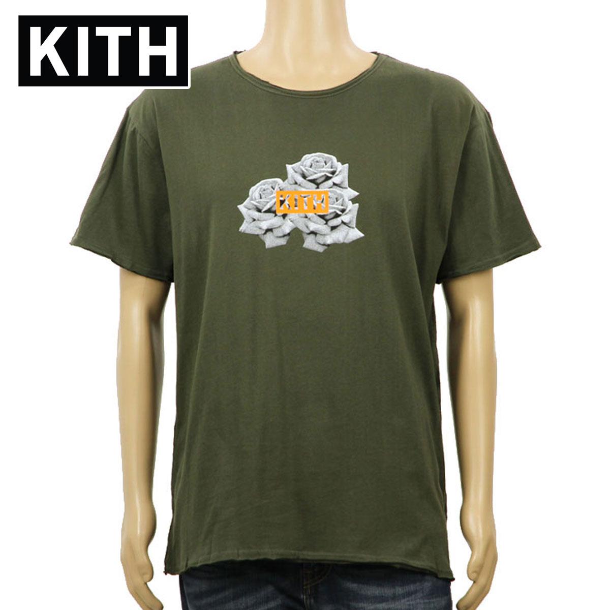 キス KITH 正規品 メンズ 半袖Tシャツ KITH CLASSICS 3 ROSES FRAY TEE OLIVE KH3086-106 D00S15