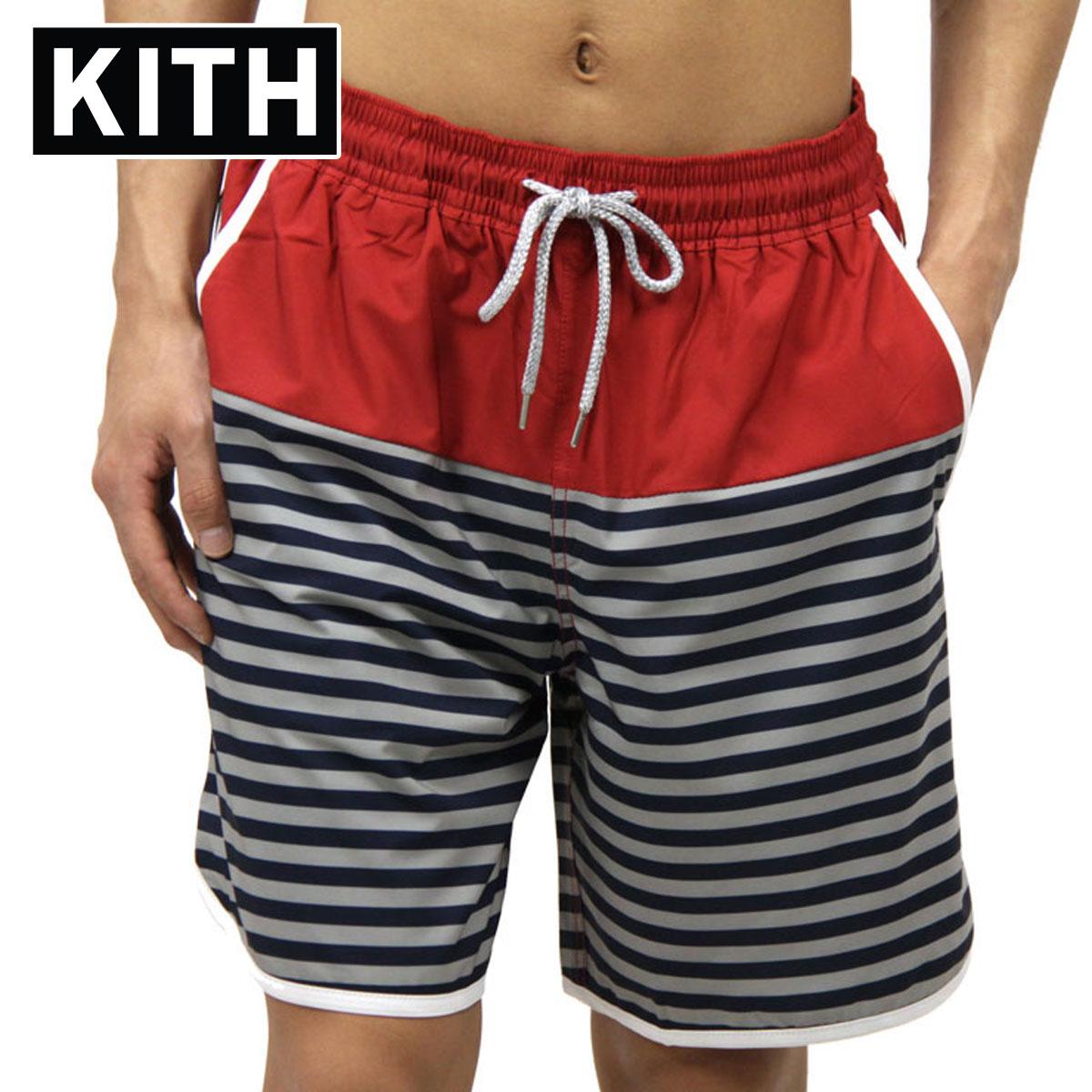 キス 水着 メンズ 正規品 KITH スイムパンツ KITH ROCKAWAY SHORT KH7002-106 RED / NAVY