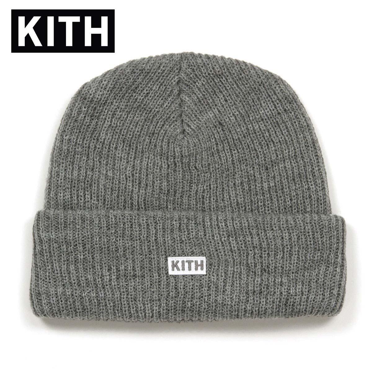 キス KITH 正規品 メンズ 帽子 ロゴビーニー ニット帽 KITH BOX LOGO KNIT BEANIE KH9091-103 GREY