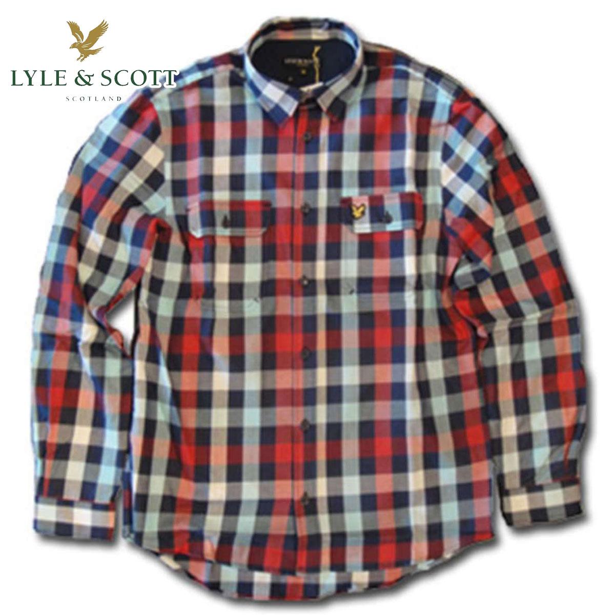 ライルアンドスコット LYLE&SCOTT 正規販売店 BUTTON DOWN CHECK SHIRT ボタンダウンシャツ ブルーレッド D3 敬老の日 プレゼント
