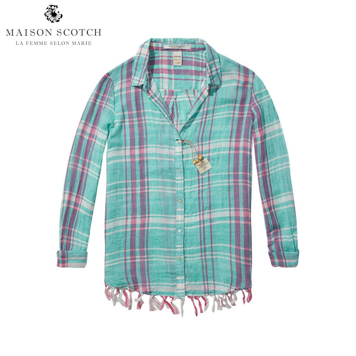 メゾンスコッチ MAISON SCOTCH 正規販売店 レディース 長袖シャツ Lightweight checked shirt with fringed hem 131151 A D15S25