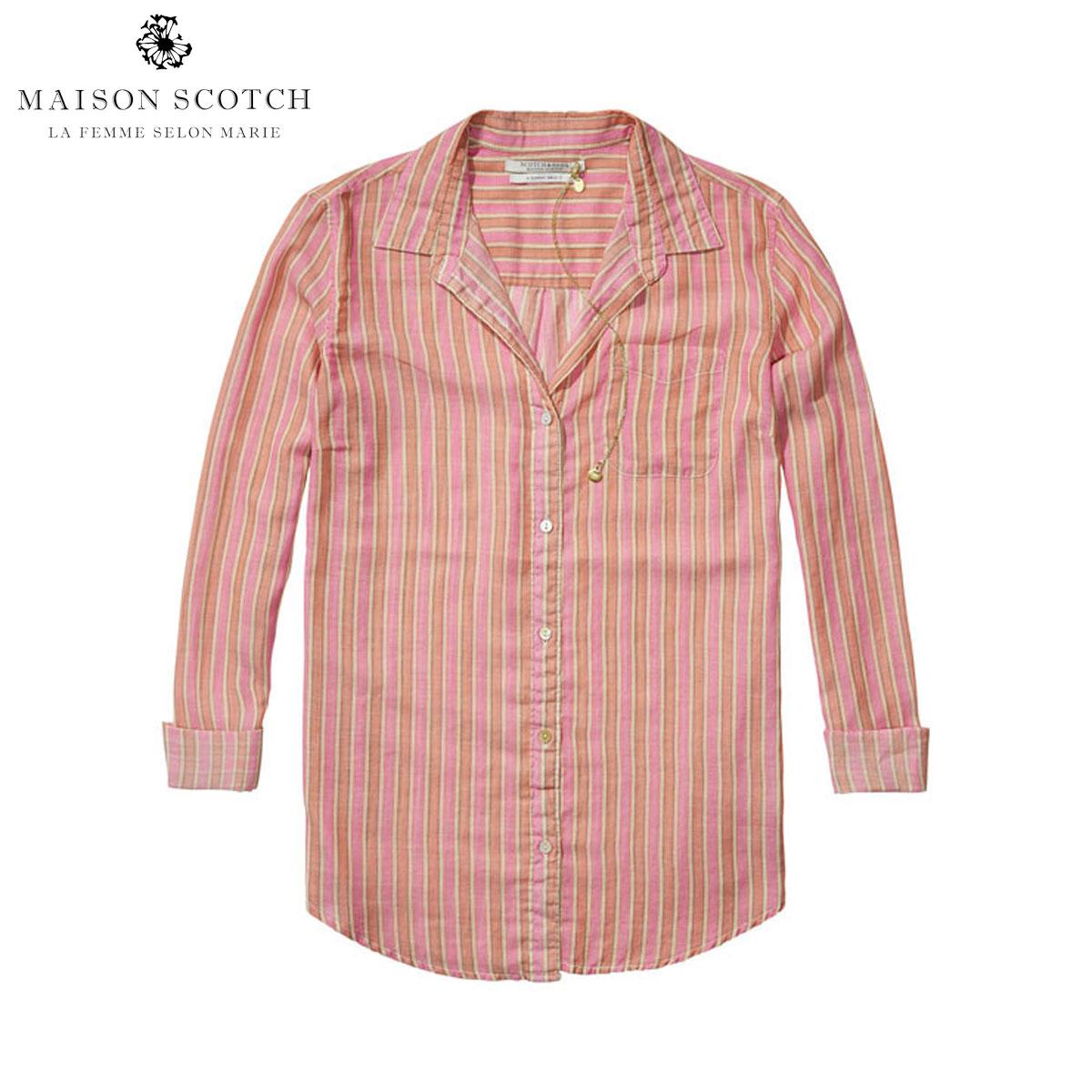 【ポイント10倍 8/2 20:00~8/9 01:59まで】 メゾンスコッチ MAISON SCOTCH 正規販売店 レディース 長袖シャツ Lightweight striped button-up shirt 131142 A D00S20