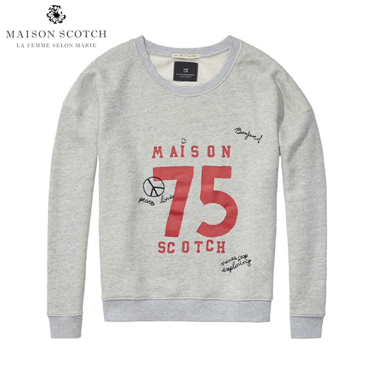 メゾンスコッチ MAISON SCOTCH 正規販売店 レディース トレーナー Easy crew neck sweat with 'Maison' artworks 131201 970 D00S20