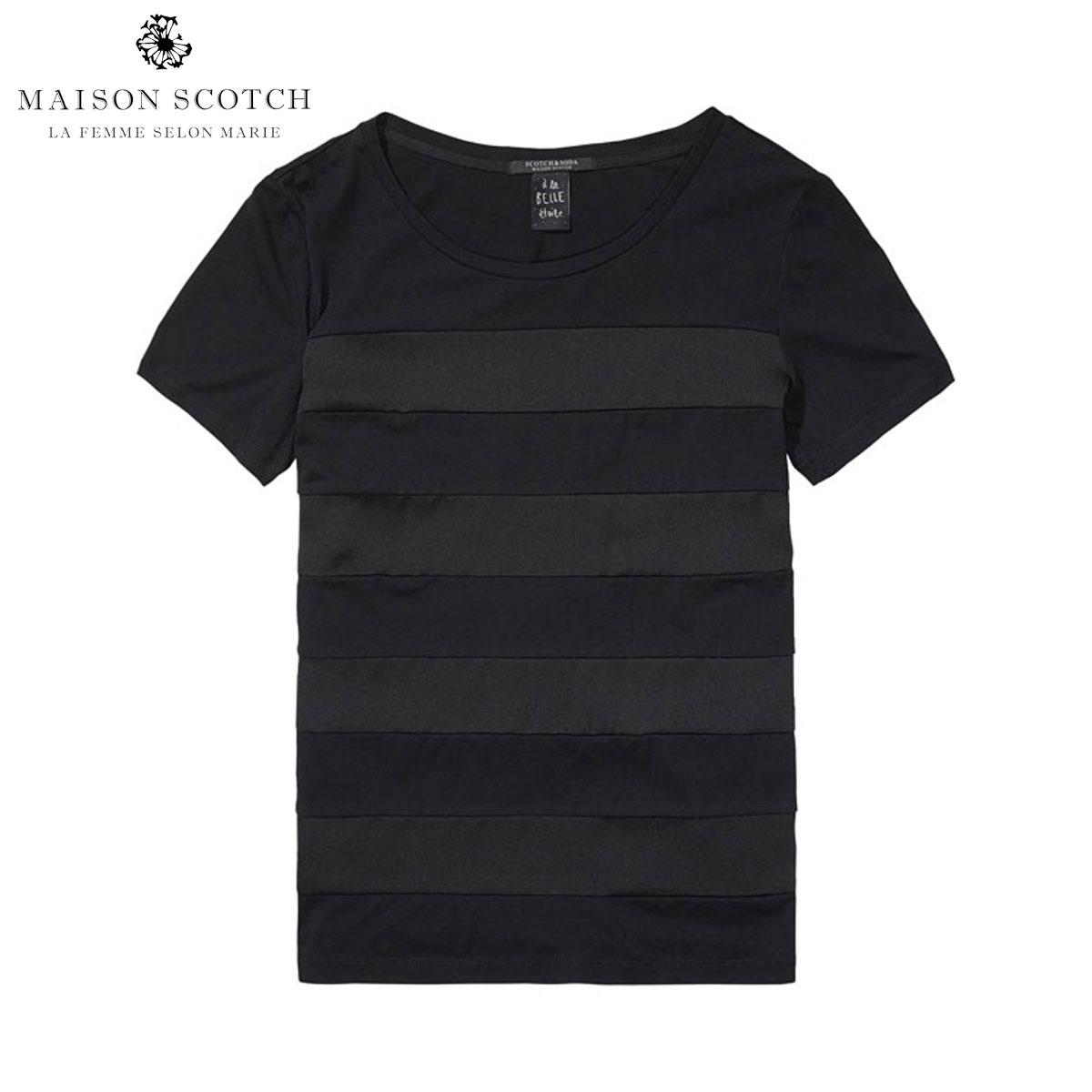 メゾンスコッチ MAISON SCOTCH 正規販売店 レディース 半袖Tシャツ Short sleeve tee with woven stripe panels 102148 04