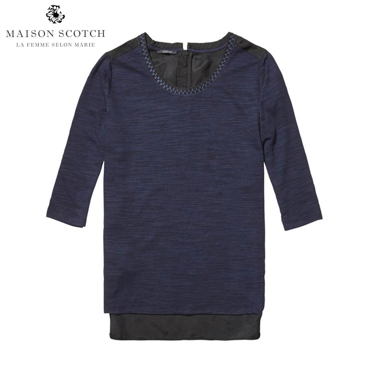 メゾンスコッチ MAISON SCOTCH 正規販売店 レディース 七分袖Tシャツ Feminine jersey top mixed with woven. 100220 C D00S20