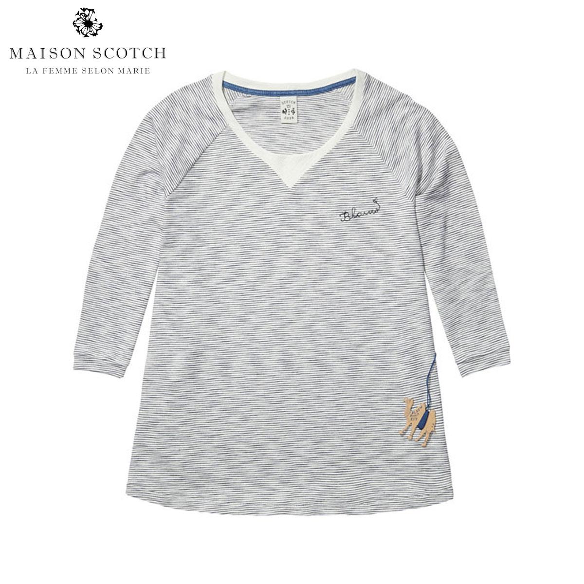 メゾンスコッチ MAISON SCOTCH 正規販売店 レディース 七分袖Tシャツ Striped indigo Tee in A-line fit. 100221 B