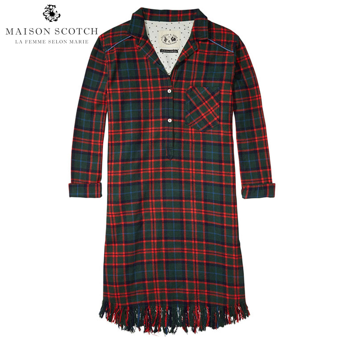 メゾンスコッチ MAISON SCOTCH 正規販売店 レディース ドレス Shirt dress in various checks with fringes at the bottomhem. 100268 18 D00S20