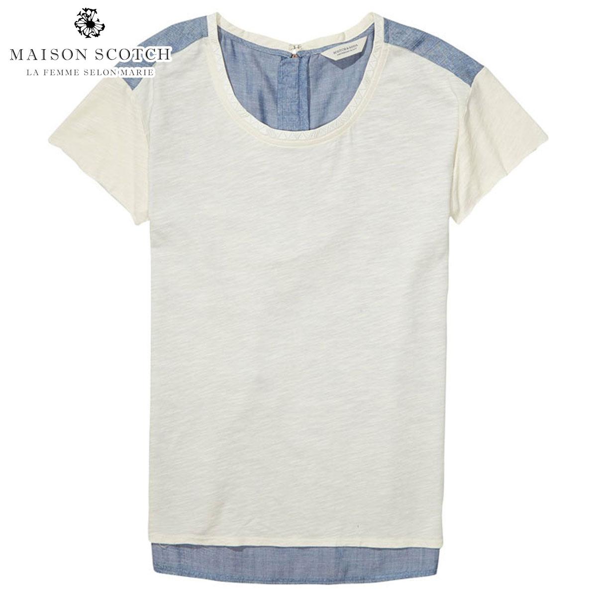 メゾンスコッチ MAISON SCOTCH 正規販売店 レディース 半袖Tシャツ T-SHIRT WITH WOVEN BACK 134871 17 COMBO A