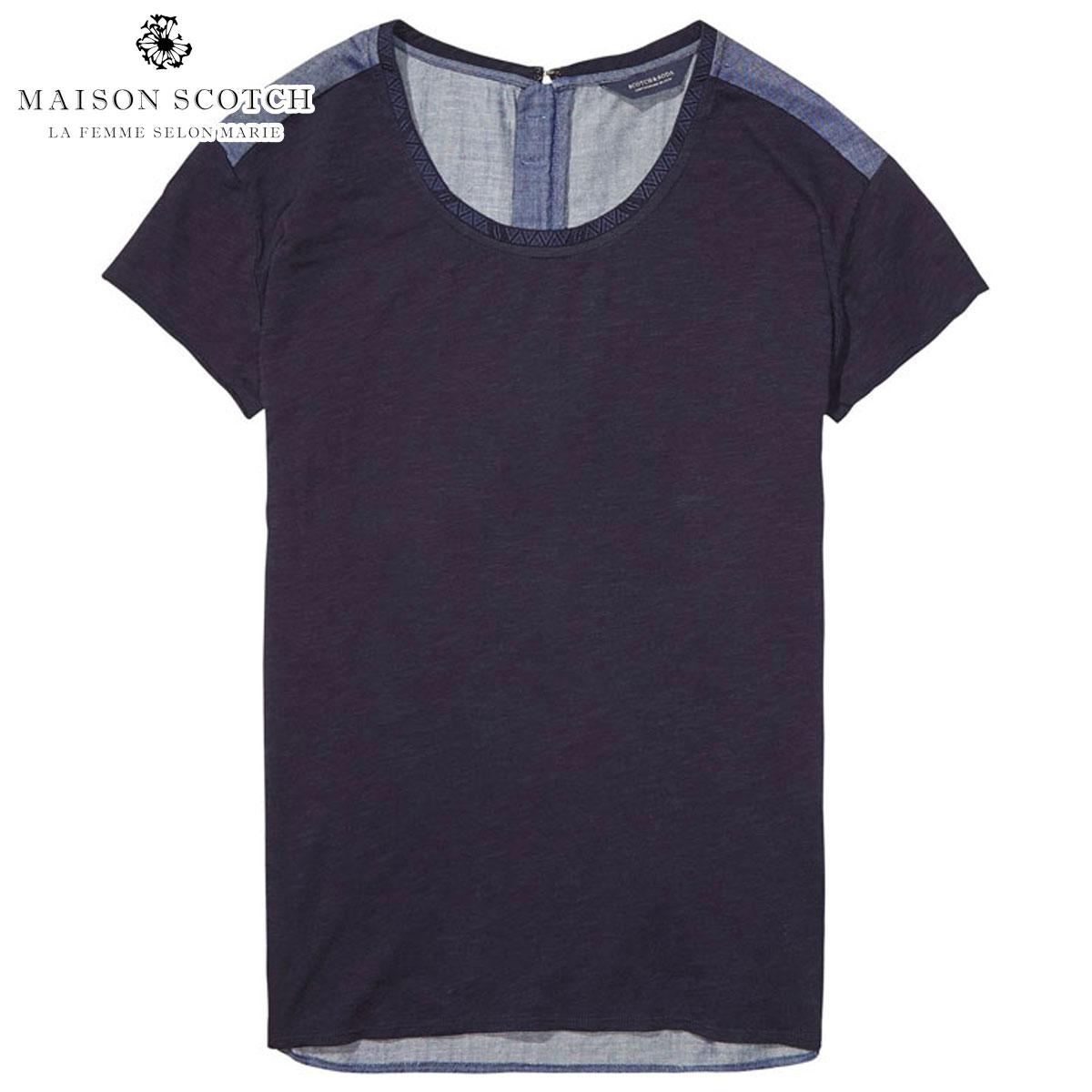 メゾンスコッチ MAISON SCOTCH 正規販売店 レディース 半袖Tシャツ T-SHIRTWITHWOVENBACK 134871 18 COMBO B
