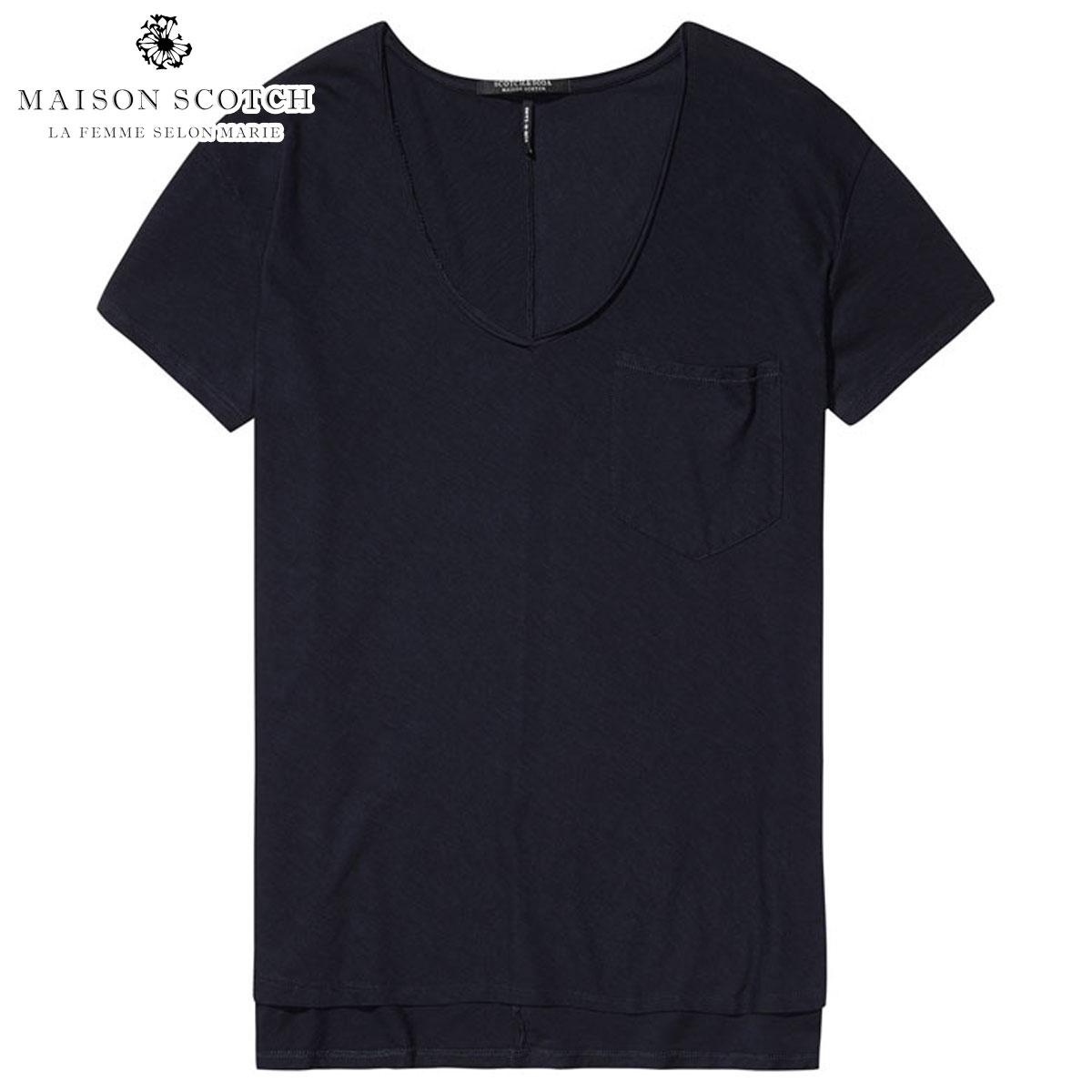 メゾンスコッチ MAISON SCOTCH 正規販売店 レディース 半袖Tシャツ BASIC CHEST POCKET T-SHIRT 137312 4 NAVY
