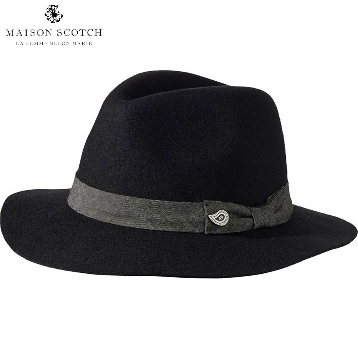 メゾンスコッチ MAISON SCOTCH 正規販売店 レディース 帽子 ハット FELTED HAT 134963 8 BLACK D00S15
