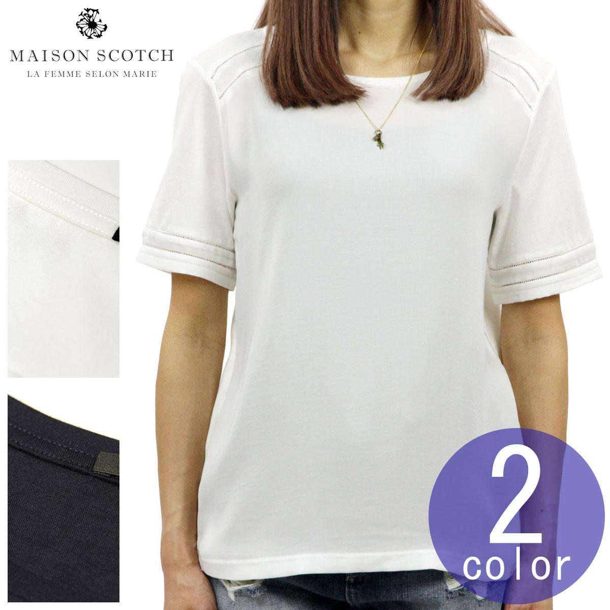 0aa26ac1a309a0 Maison Scotch Whiskey MAISON SCOTCH regular store Lady's plain fabric short  sleeves T-shirt cut
