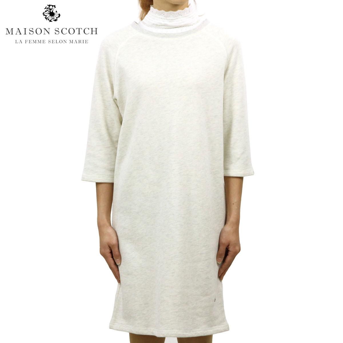 メゾンスコッチ MAISON SCOTCH 正規販売店 レディース スウェット素材 ワンピース SUPER SOFT SWEAT DRESS WITH WOVEN COLLAR 144097 0G 53826 GREY ME D