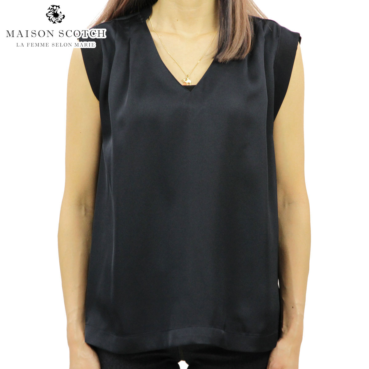 10%OFFセール 【販売期間 8/2 20:00~8/9 01:59】 メゾンスコッチ MAISON SCOTCH 正規販売店 レディース 無地 タンクトップ SLEEVELESS SILKY FEEL TOP WITH PLEAT DETAIL AT THE SHOULDER 143449 04 52814 NAVY