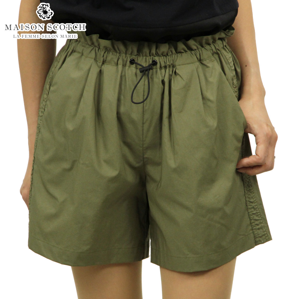 メゾンスコッチ MAISON SCOTCH 正規販売店 レディース ショートパンツ TECHNICAL POPLIN PAPERBAG SHORTS WITH ROUCHED SIDE SEAM 143789 15 52509 ARMY