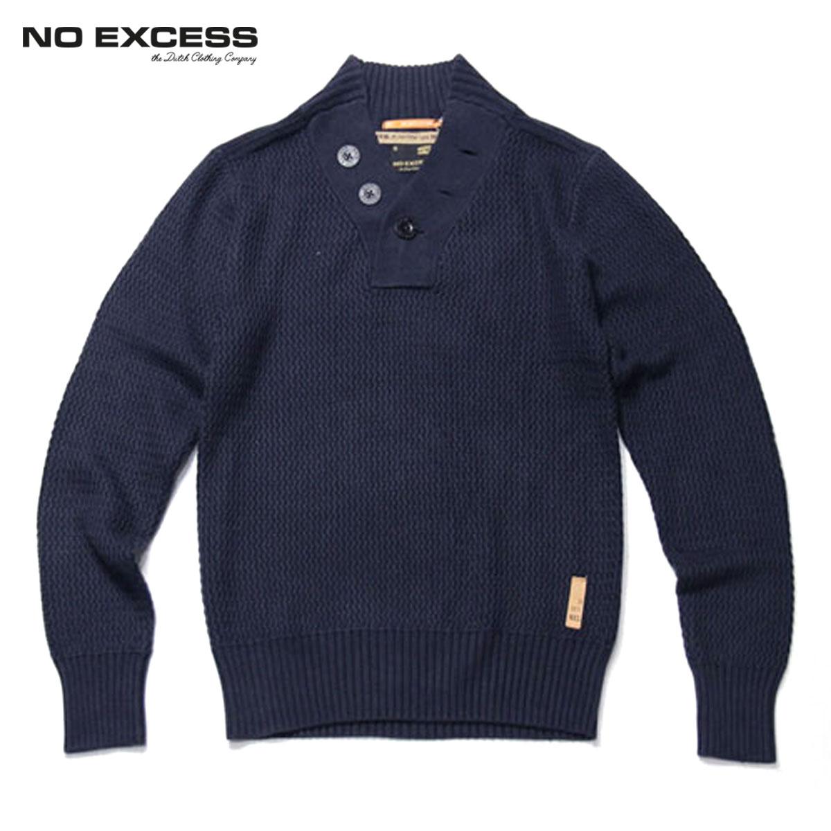 ノーエクセス NO EXCESS 正規販売店 メンズ ヘンリーセーター HENRY NECK CABLE KNIT 230801 078 NAVY D15S25