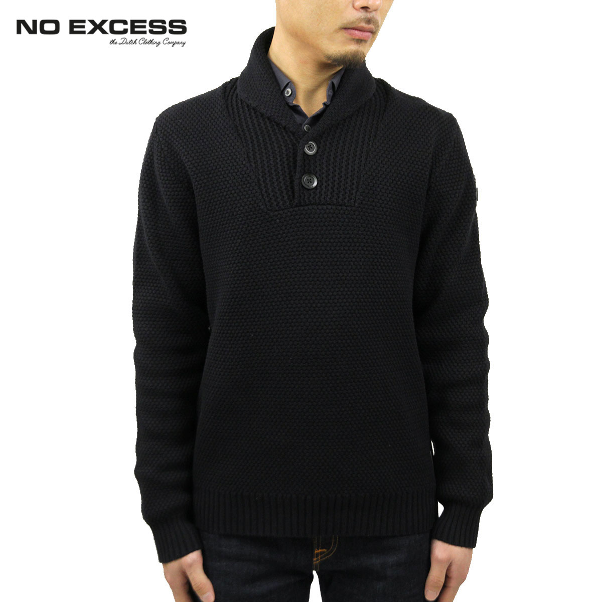 ノーエクセス NO EXCESS 正規販売店 メンズ セーター PULLOVER SHAWL COLLAR SWEATER 230845 20 black D15S25