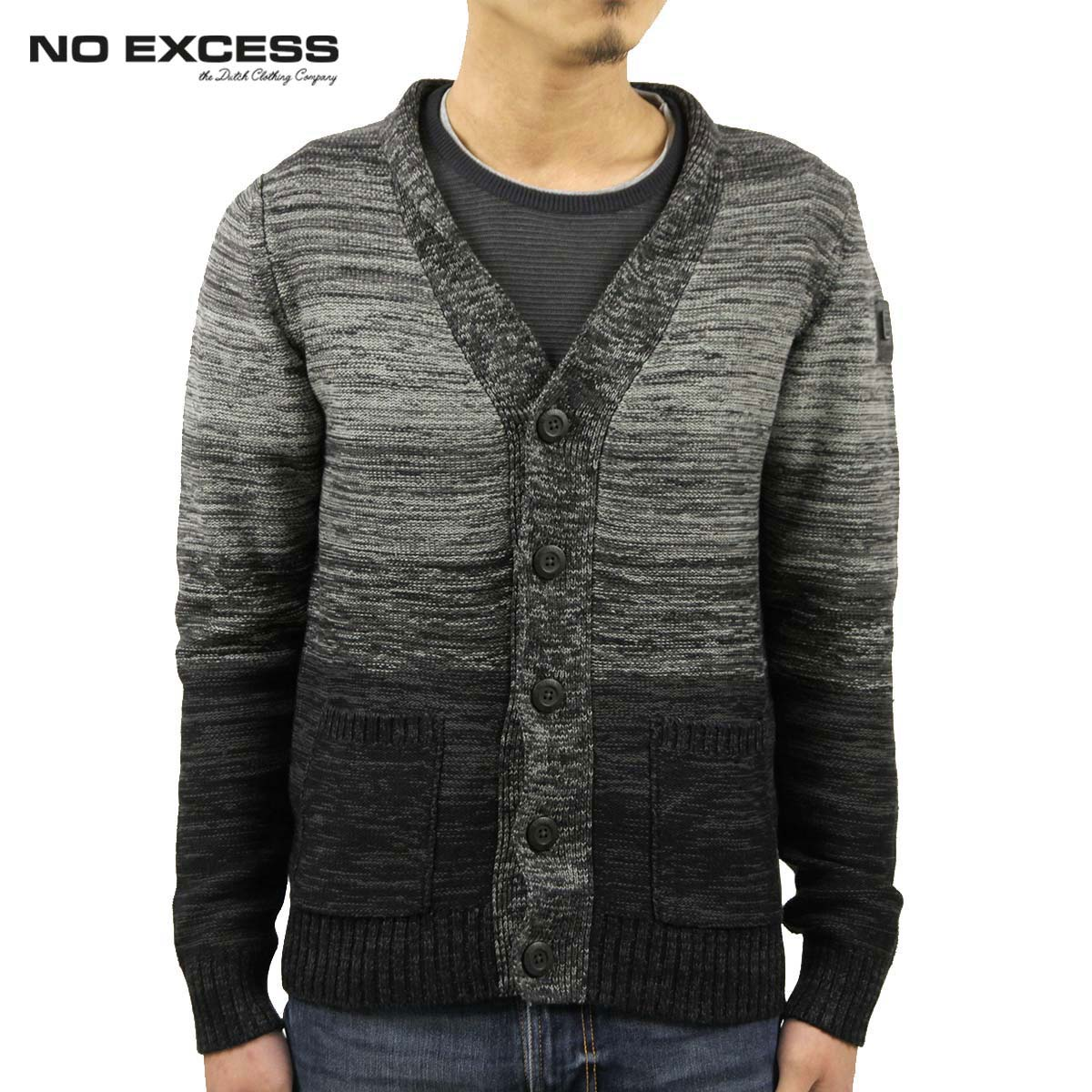 15%OFFセール 【販売期間 11/3 20:00~11/12 9:59】 ノーエクセス NO EXCESS 正規販売店 メンズ カーディガン PULLOVER BUTTON CARDIGAN 230933 20 black D00S15