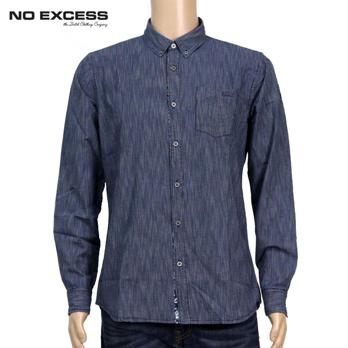 ノーエクセス NO EXCESS 正規販売店 メンズ 長袖シャツ INDIGO SPECIAL WEAVE LONG SLEEVE SHIRT 430260 033 D15S25