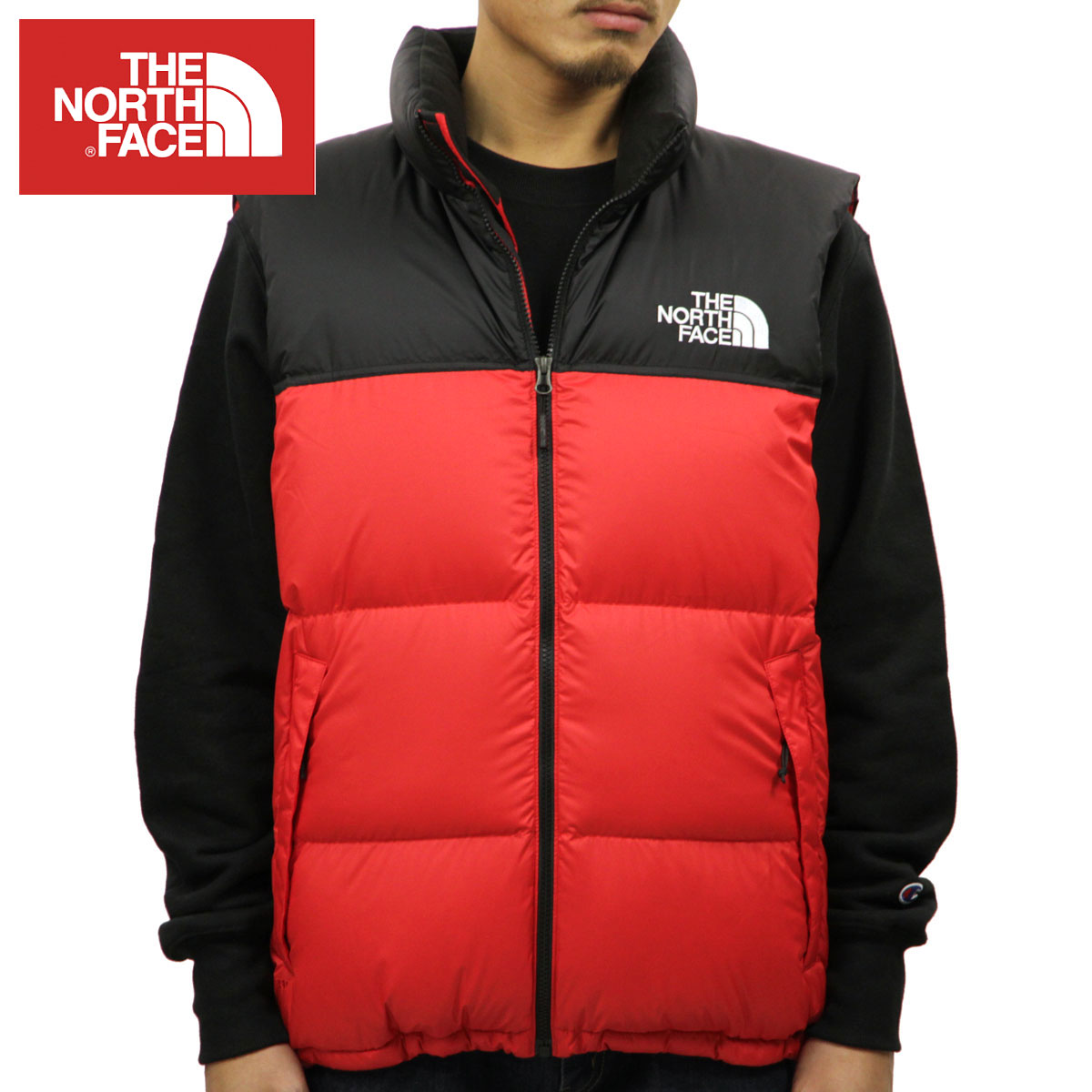 North Face THE NORTH FACE regular article men outer best TNF NOVELTY NUPTSE VEST TNF BLACKTNF RED