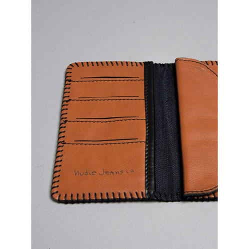 牛羚D牛仔褲Nudie Jeans正規的店鋪人對開錢包Montgomerysson Black Stitch Wallet 180456 Cognac