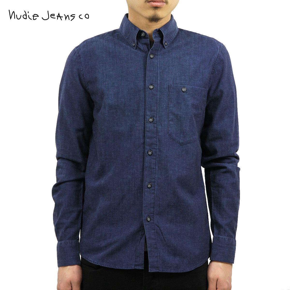 ヌーディージーンズ Nudie Jeans 正規販売店 メンズ 長袖シャツ Stanley Org. Deep Blue Denim B26 140277 3015 D15S25