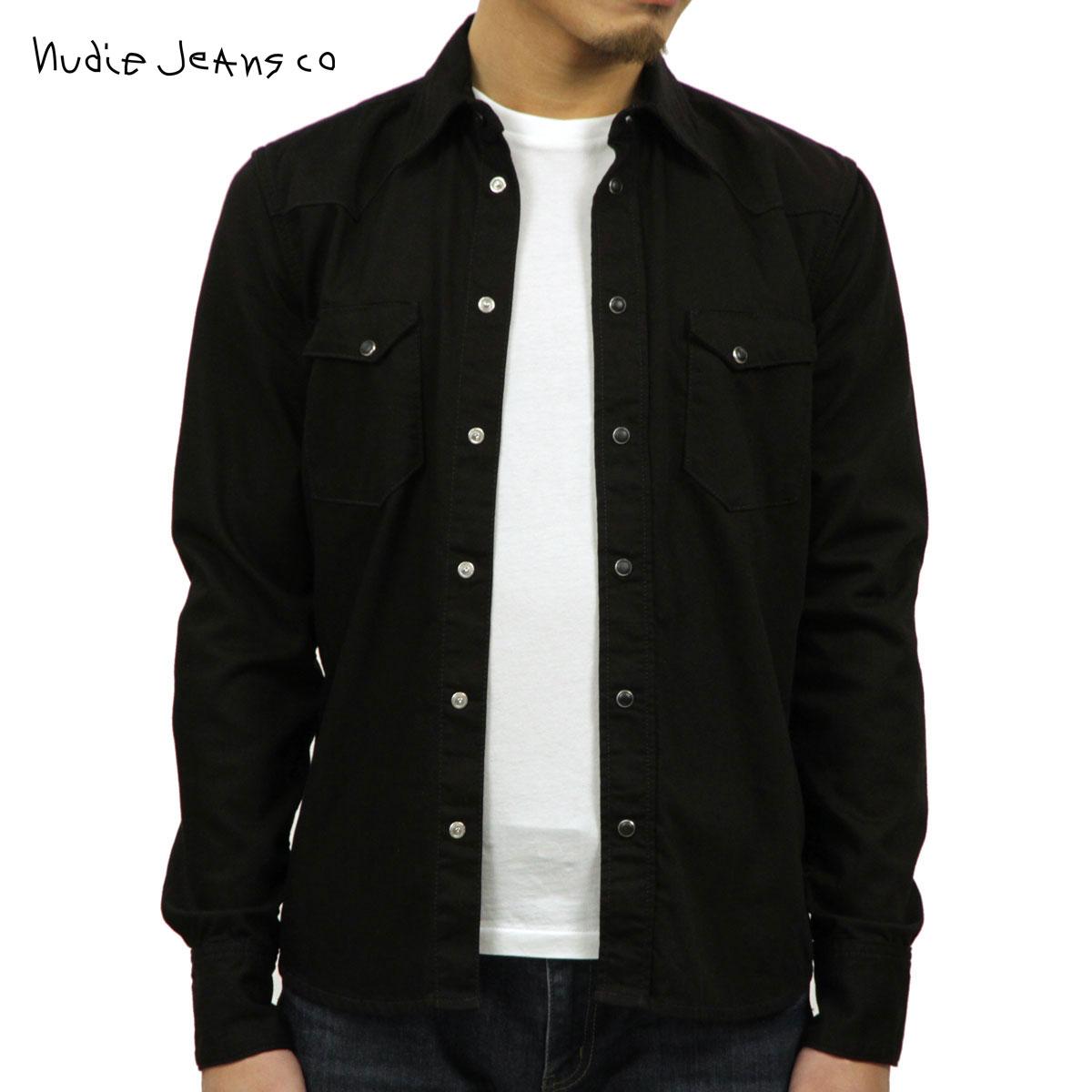 ヌーディージーンズ シャツ メンズ 正規販売店 Nudie Jeans 長袖シャツ Jonis Org. Deep Black B01 140281 3022