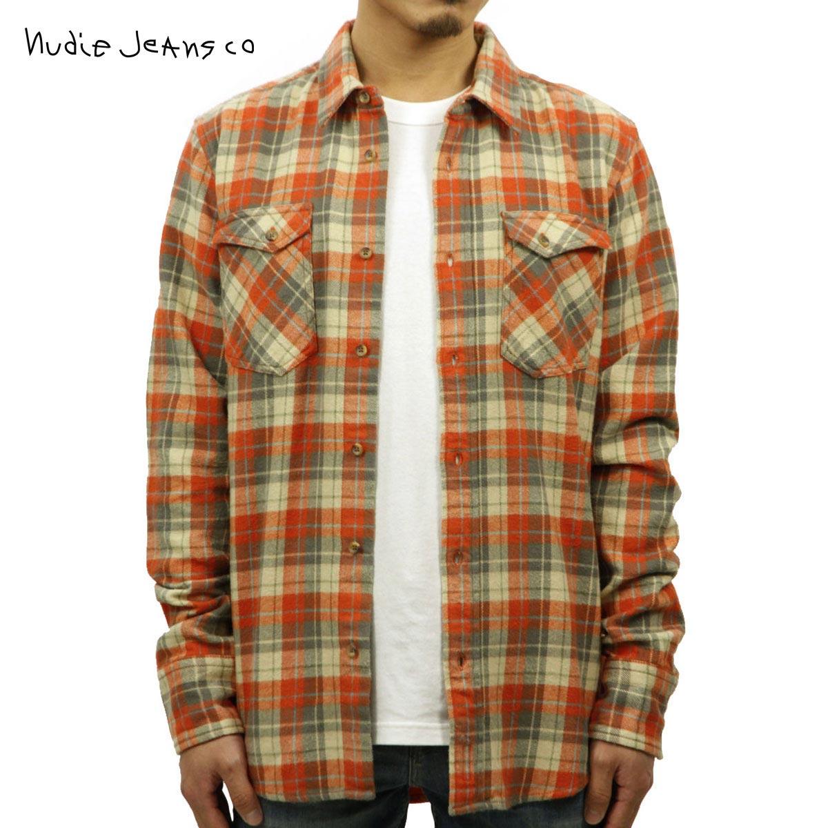 【販売期間 11/3 20:00~11/12 09:59】 ヌーディージーンズ Nudie Jeans 正規販売店 メンズ 長袖シャツ Gunnar Orange 140345 D15S25