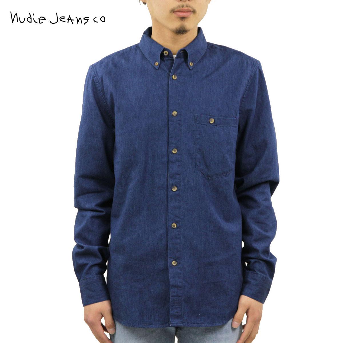 ヌーディージーンズ シャツ メンズ 正規販売店 Nudie Jeans 長袖シャツ Stanley Blue 140347