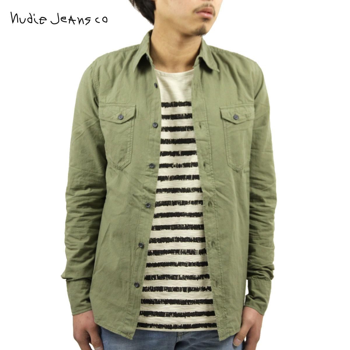 ヌーディージーンズ シャツ メンズ 正規販売店 Nudie Jeans 長袖シャツ Gunnar Olive 140405