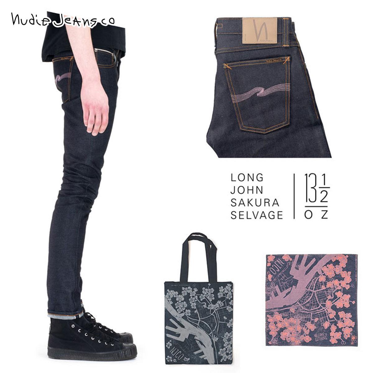 【販売期間 11/12 10:00~11/21 09:59】 ヌーディージーンズ Nudie Jeans 正規販売店 メンズ ジーンズ ヌーディージーンズ Long John Sakura Selvage - Japanese Selvage Denim Made In Italy D00S15