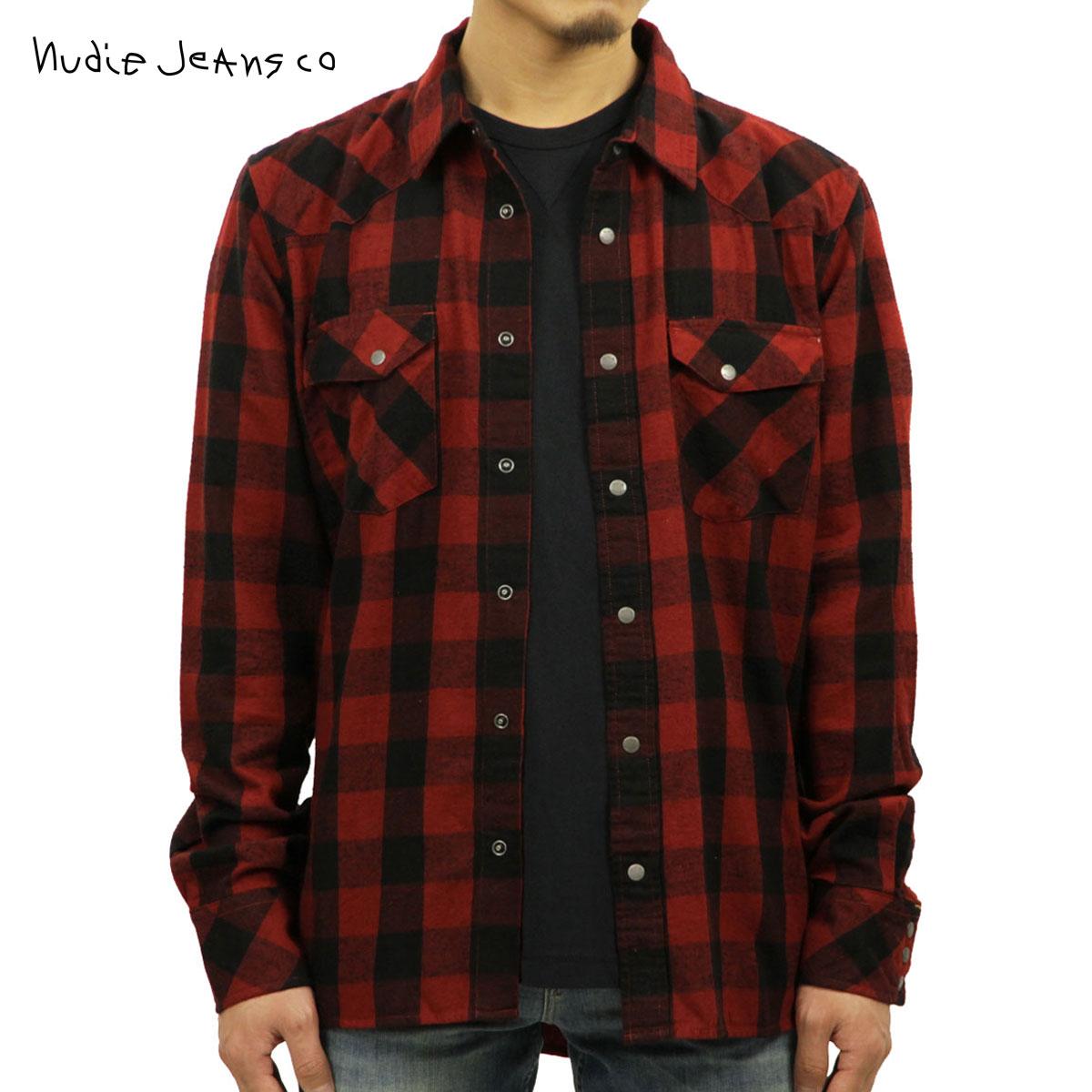 ヌーディージーンズ Nudie Jeans 正規販売店 メンズ 長袖シャツ Jonis B05 Black/Red 140446 D00S20